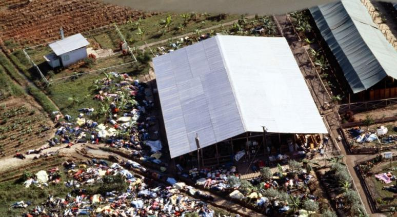 Aerial shot of the Jonestown mass suicide.