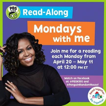Michelle Obama is reading to kids online.