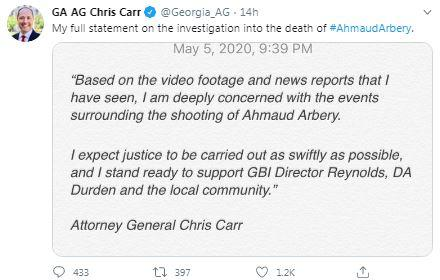 "Georgia's Attorney General called for ""justice"" in shooting death of Ahmaud Arbery."