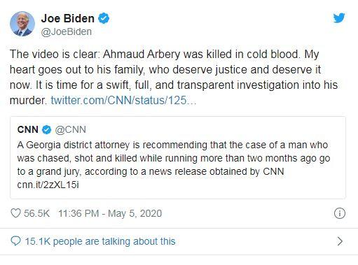 "Biden said the young man had been ""killed in cold blood."""