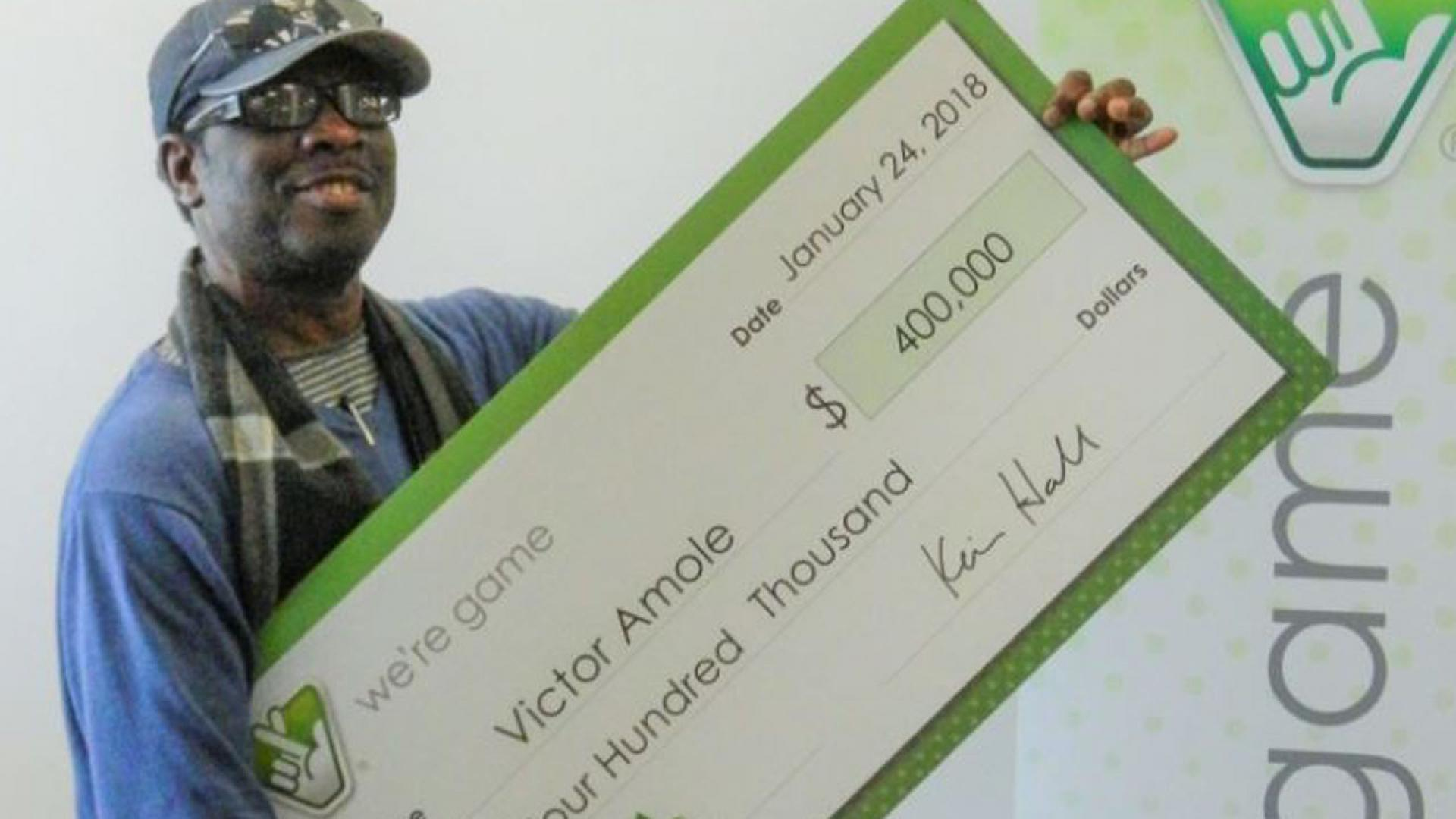 Victor Amole bought four tickets in the Virginia Lottery's Cash 5 game at Fas Mart in Stafford on Jan. 13.