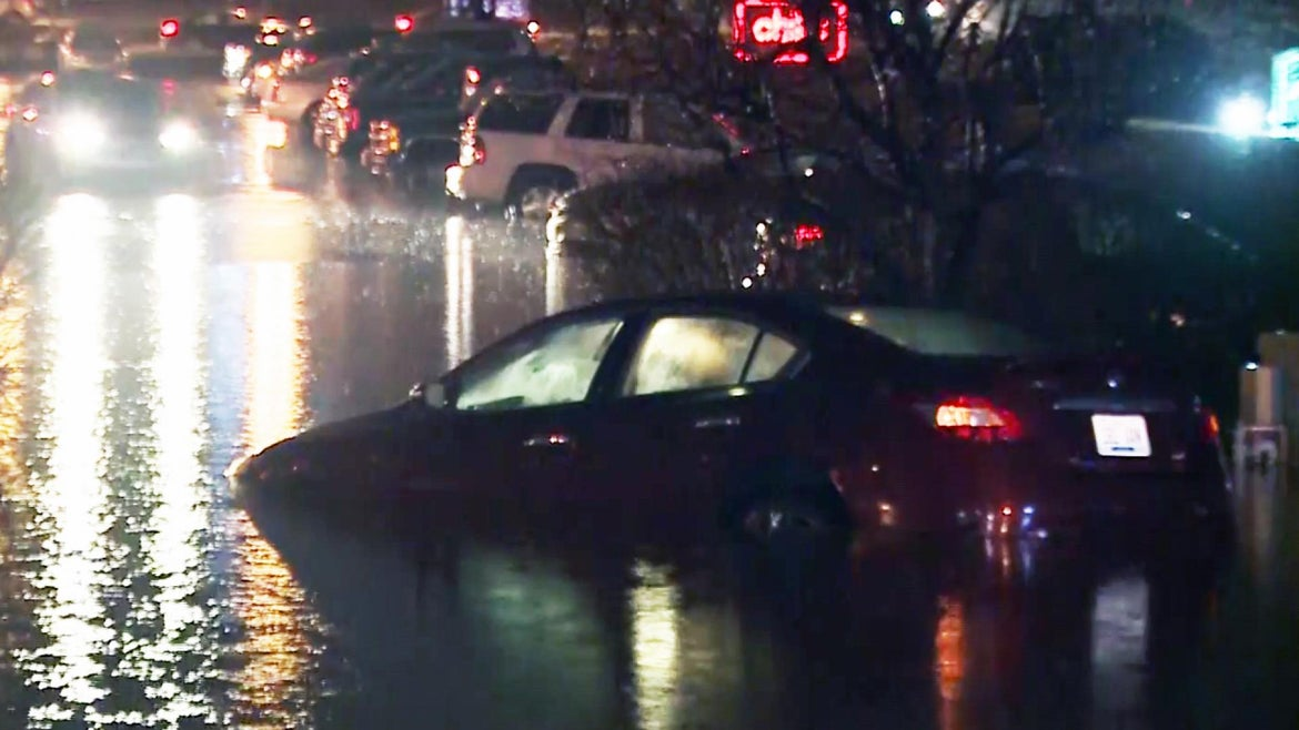 Roads were flooded after tornadoes and severe weather hit southern states over the weekend.