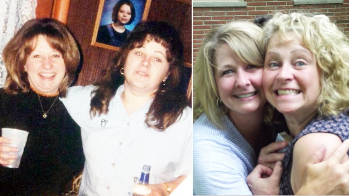Lisa Henry and Joyce Schnur pose together in 2002 (L) and again in 2016 (R).