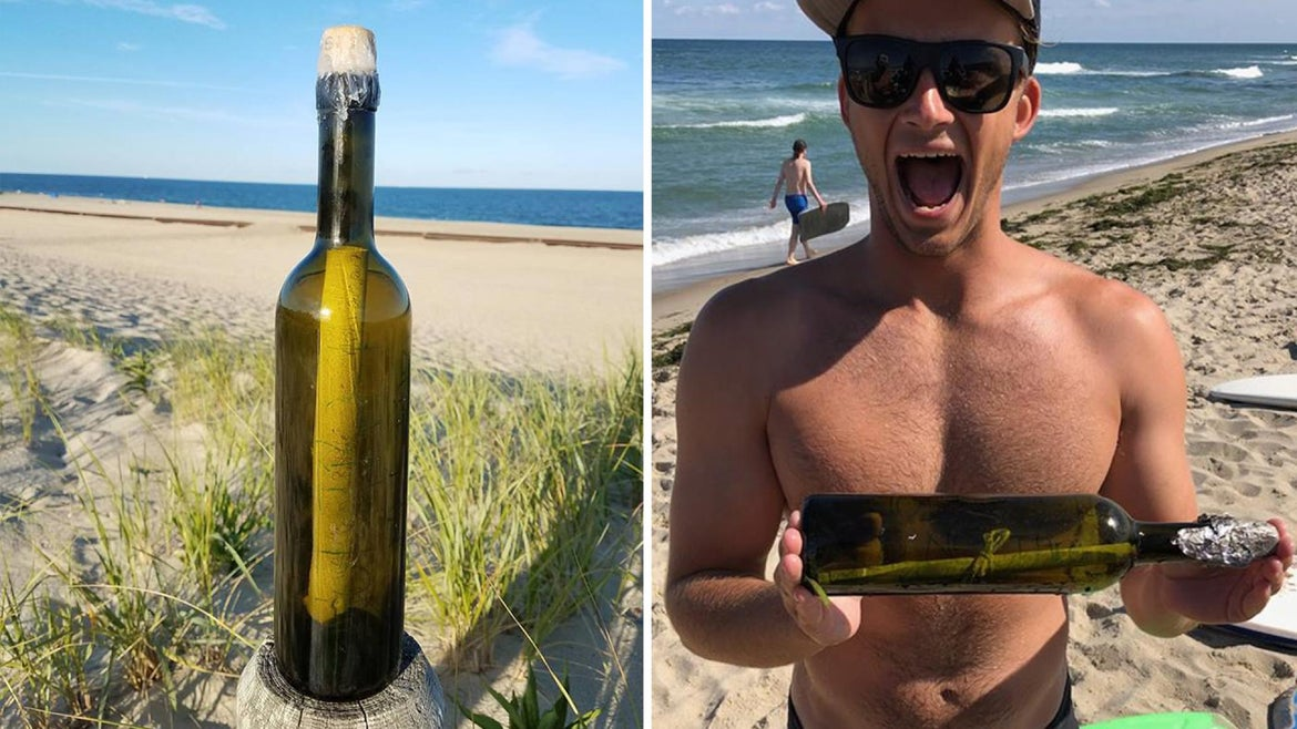 Message in a bottle found in New Jersey.