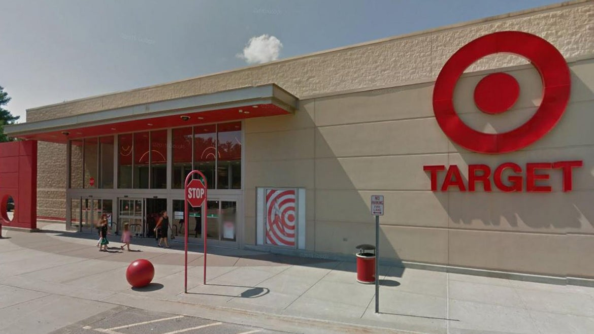 The toddler was discovered sitting in a shopping carriage in the parking lot of a Target in Easton, Mass., by a shopper who called authorities about 1 p.m. Saturday, Easton police said.