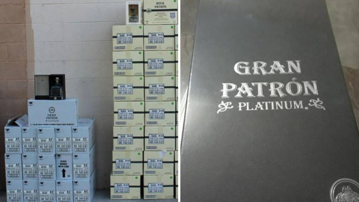 Officials allegedly seized 1,014 bottles of Patron, valued at more than $25,000, from the home of Manuel Alejandro Martinez Fernandez on Thursday, Laredo Police said in a statement.