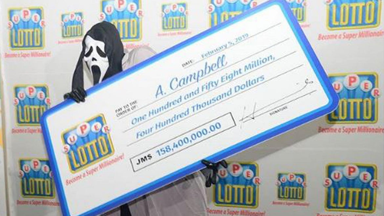 Man Wins Lotto, Accepts Prize in a 'Scream' Mask