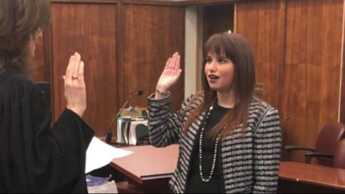 Hayley Moss being sworn into the Florida bar.