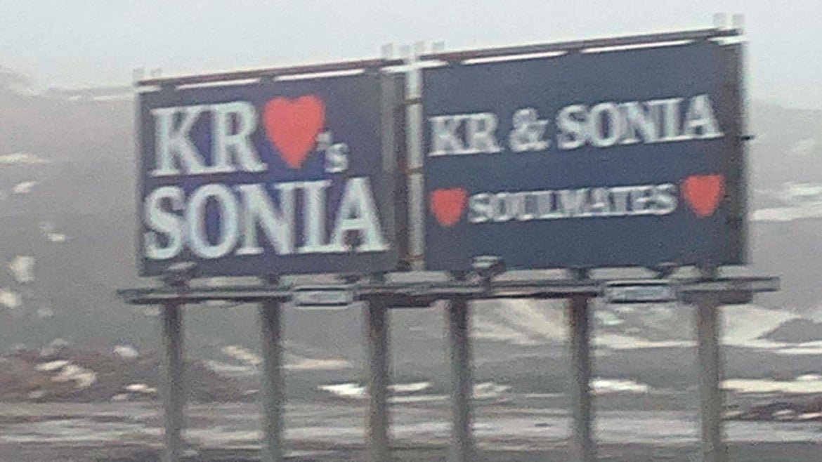 The billboards can be seen on the highway heading into Conception Bay South.
