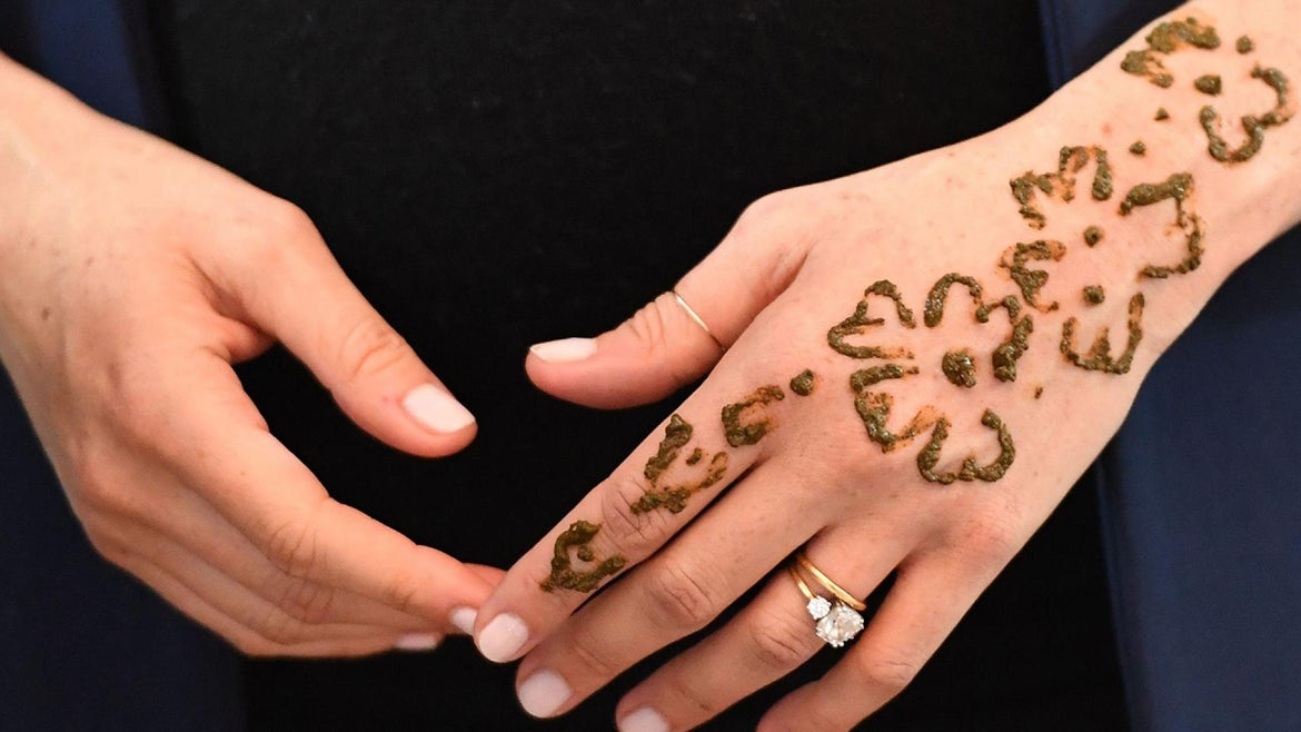 Meghan Markle received a Henna tattoo while visiting Morocco on Sunday, Feb. 24, 2019.