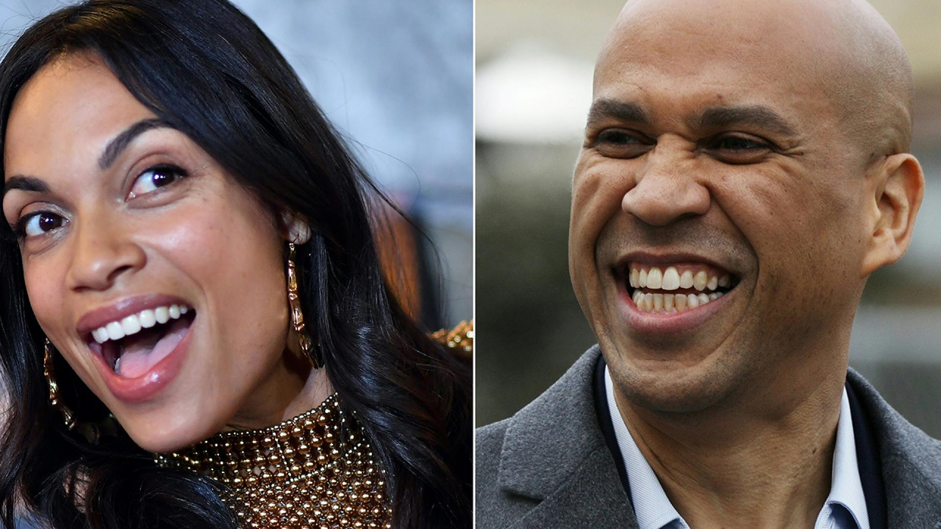 Cory Booker (right) is dating Rosario Dawson (right).