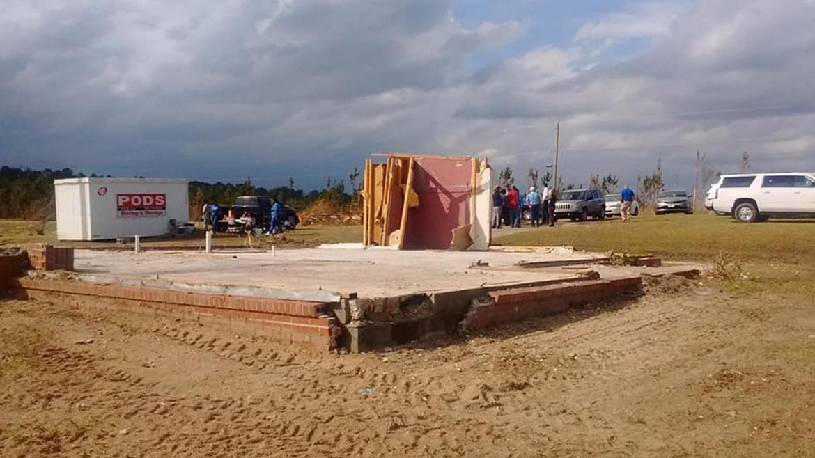 The unidentified woman's home was wiped clean during the March 3 tornado which hit Lee County.