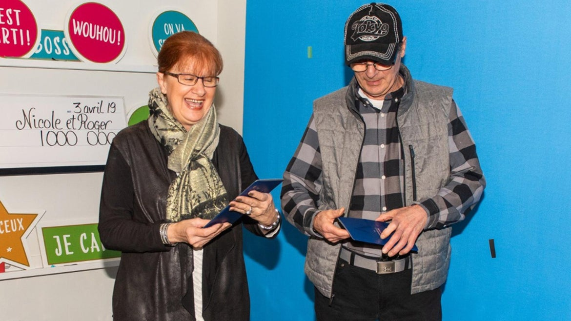 Nicole Pedneault and Roger Larocque won the lottery just in the nick of time.