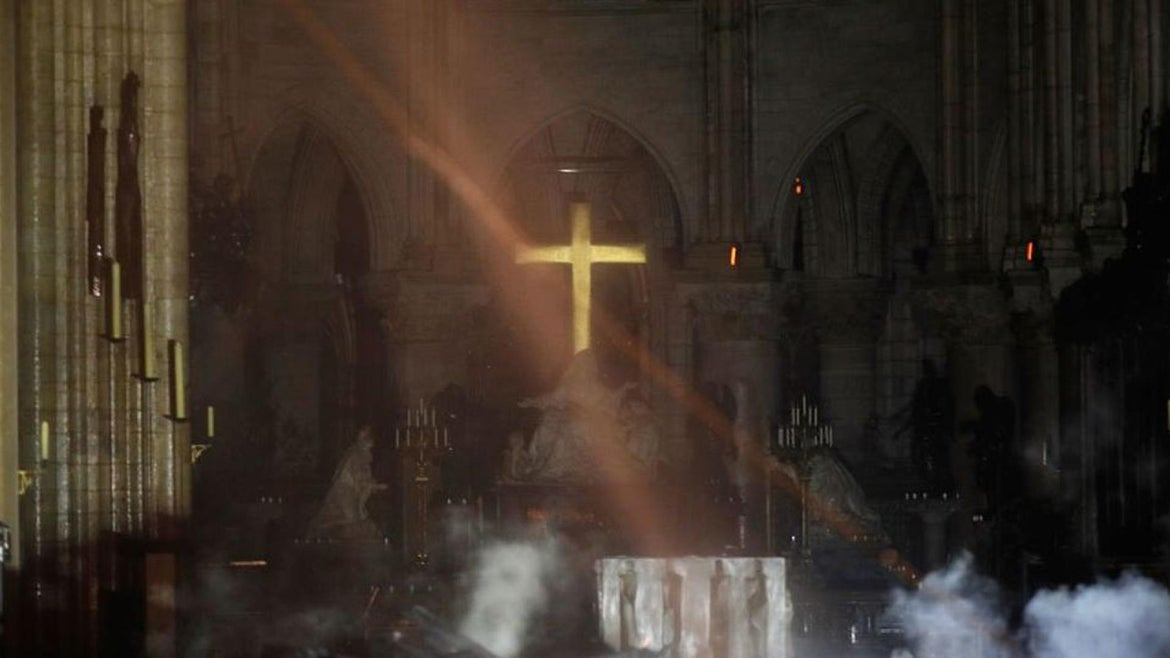Inside the Notre Dame Cathedral on Tuesday.