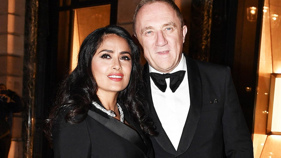 Salma Hayek and Francois-Henri Pinault are photographed in Paris in January 2019.