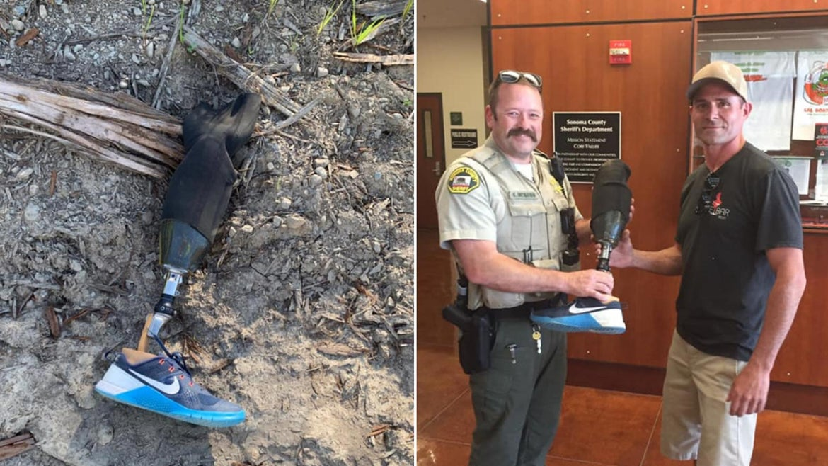 Deputies reunited a man who lost his prosthetic leg while skydiving with the prosthesis.