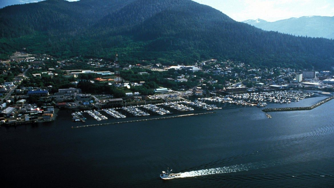 A photo of Ketchican, Alaska, from a seaplane is seen here in 2007.