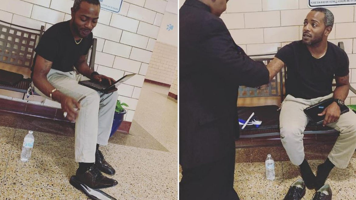 Teacher Vohn Lewis gave his shoes to a graduating student.