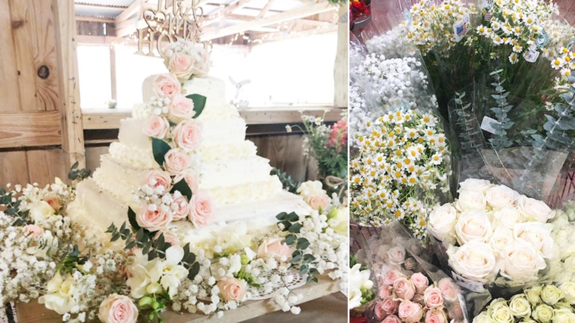 Jessica Hoyle-King built a beautiful wedding cake using two sheet cakes from Costco and about $10 worth of flowers.