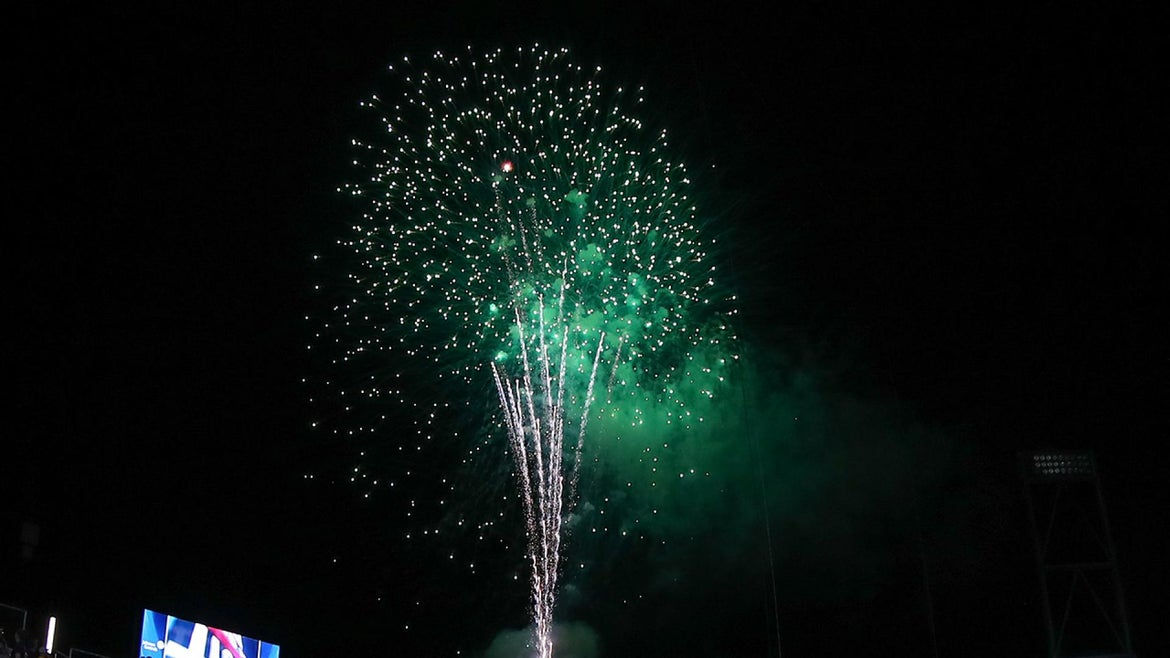 Fireworks are seen here.
