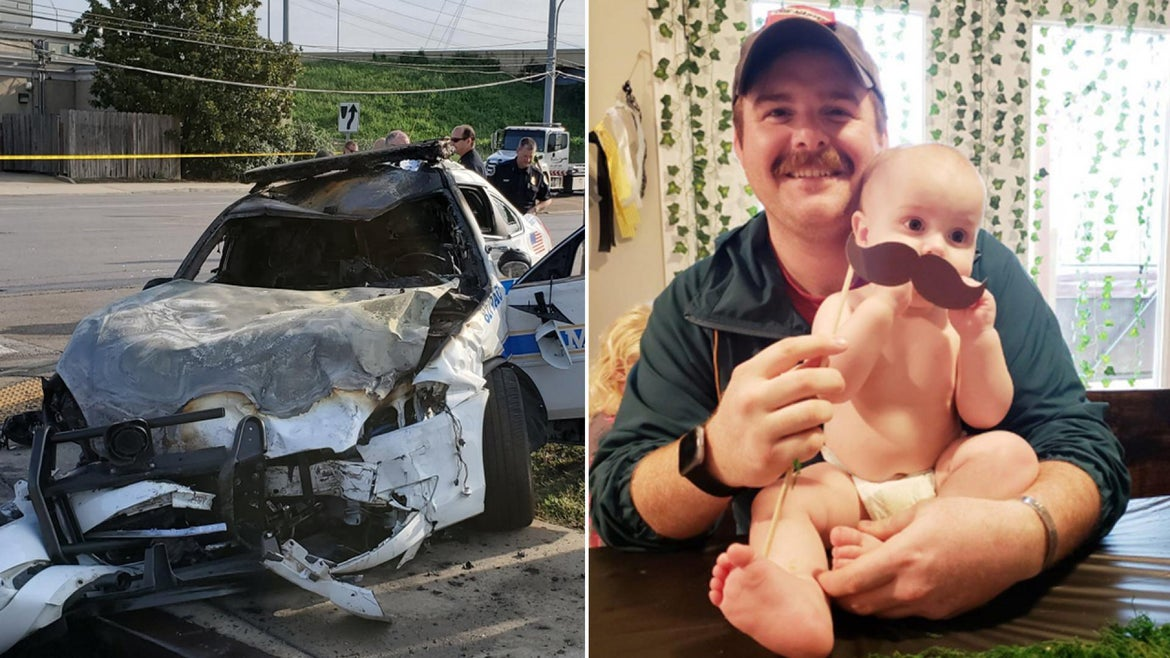 """Officer John Andersonm, 28, died after his cruiser was """"violently struck"""" by a teen driving without a license, police said."""