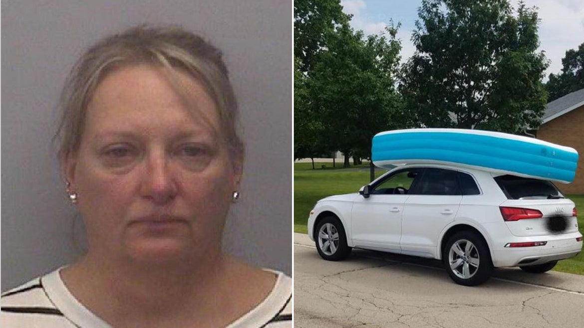 Illinois mom arrested for driving with kiddies in pool on top of car.