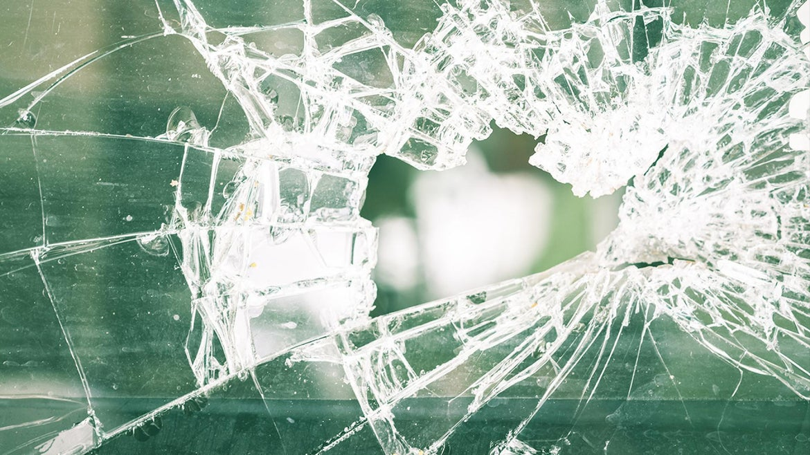 The glass likely came from the window the teen fell through about a month prior.