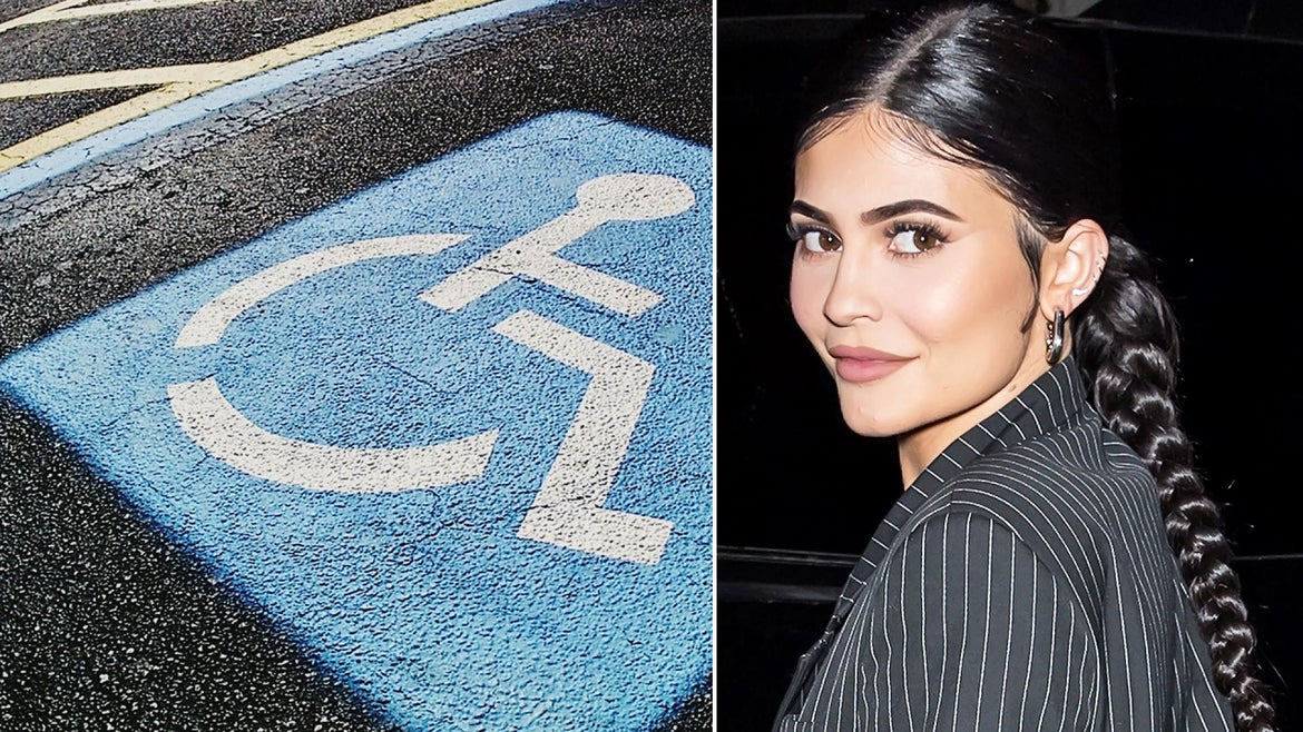Kylie Jenner and Travis Scott posed for photos while parked in an accessible parking spot.