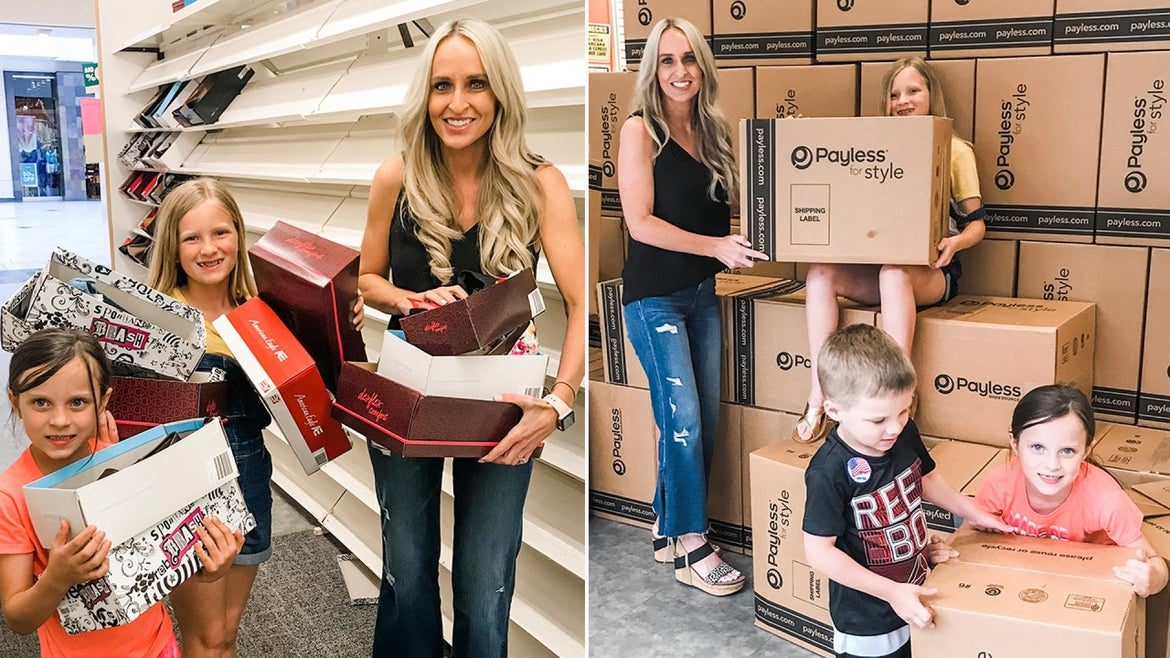 Carrie Jernigan and her kids pack up all 1,500 shoes they purchased during Payless' closing event.