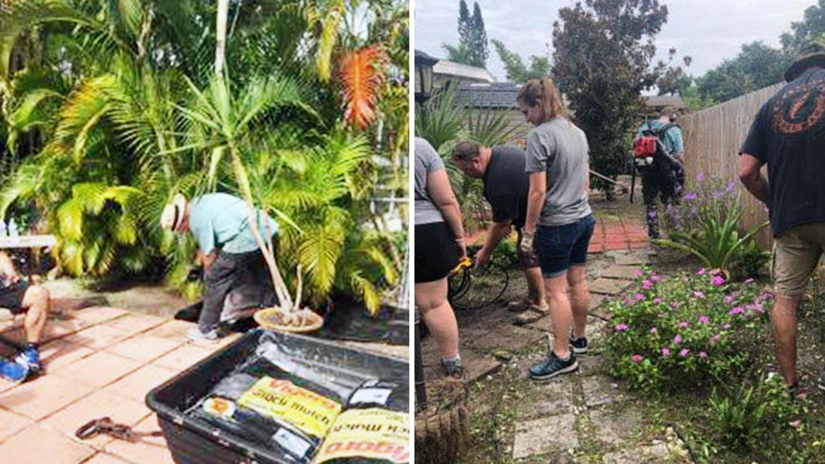 Volunteers cleaned up a cancer patient's backyard.