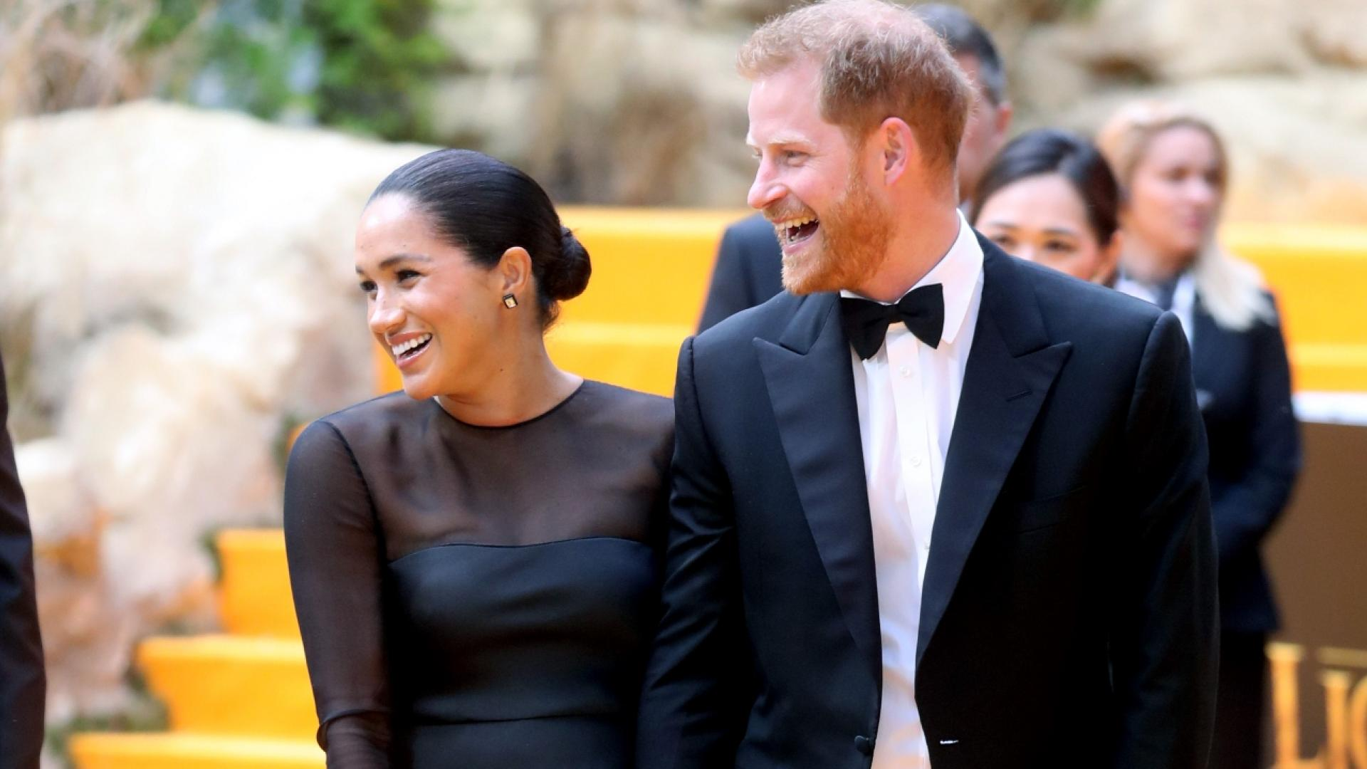 """Meghan Markle and Prince Harry walked the carpet at """"The Lion King"""" premiere in London."""