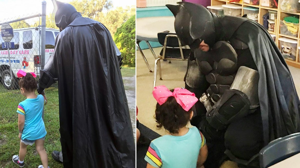 A Batman-impersonator in Spring Hill, Florida, accompanied a 3-year-old to daycare after she said she was being bullied by her classmates.