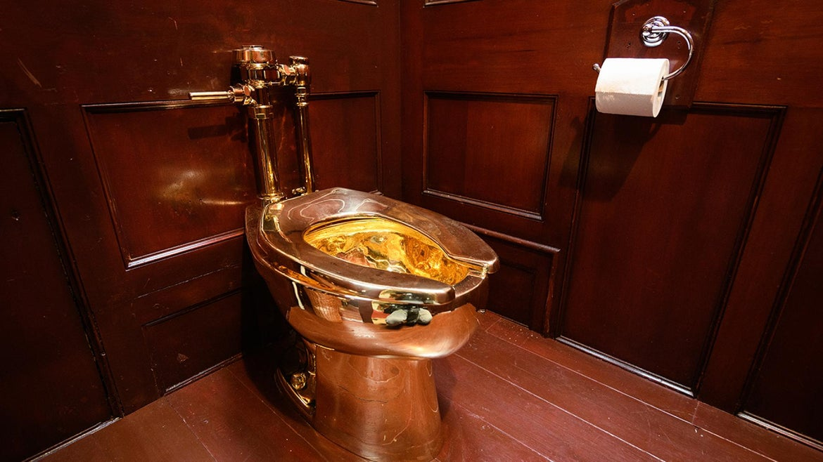 A solid gold toilet was stolen from the Blenheim Palace in England.