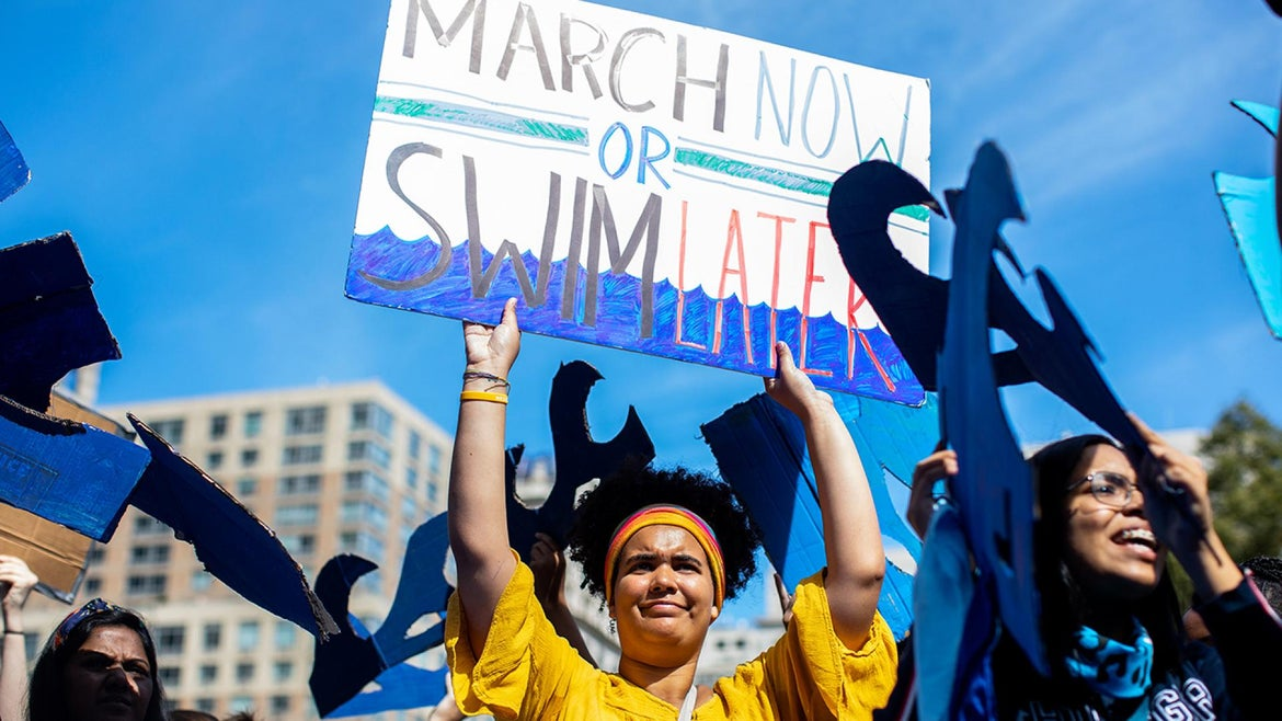 Demonstrators participate in the New York City Climate Strike.