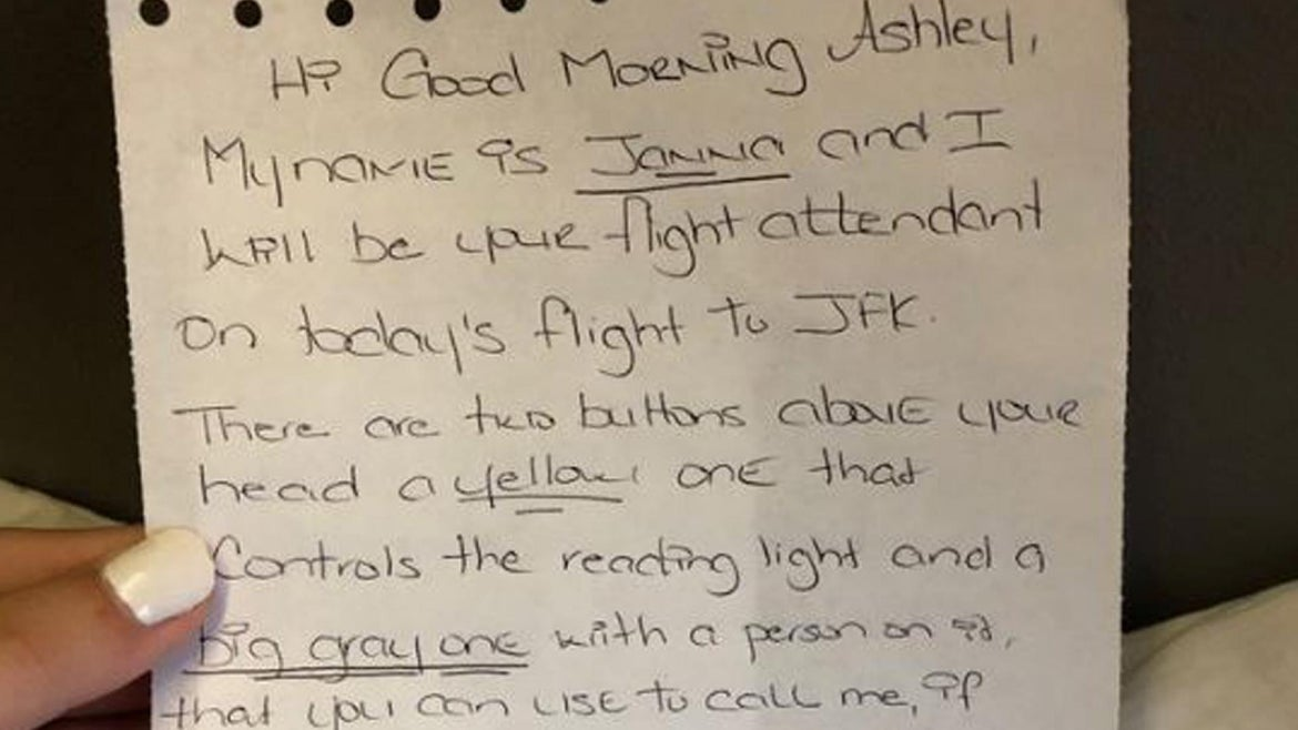 Ashley Ober was handed this note on board her flight to New York.