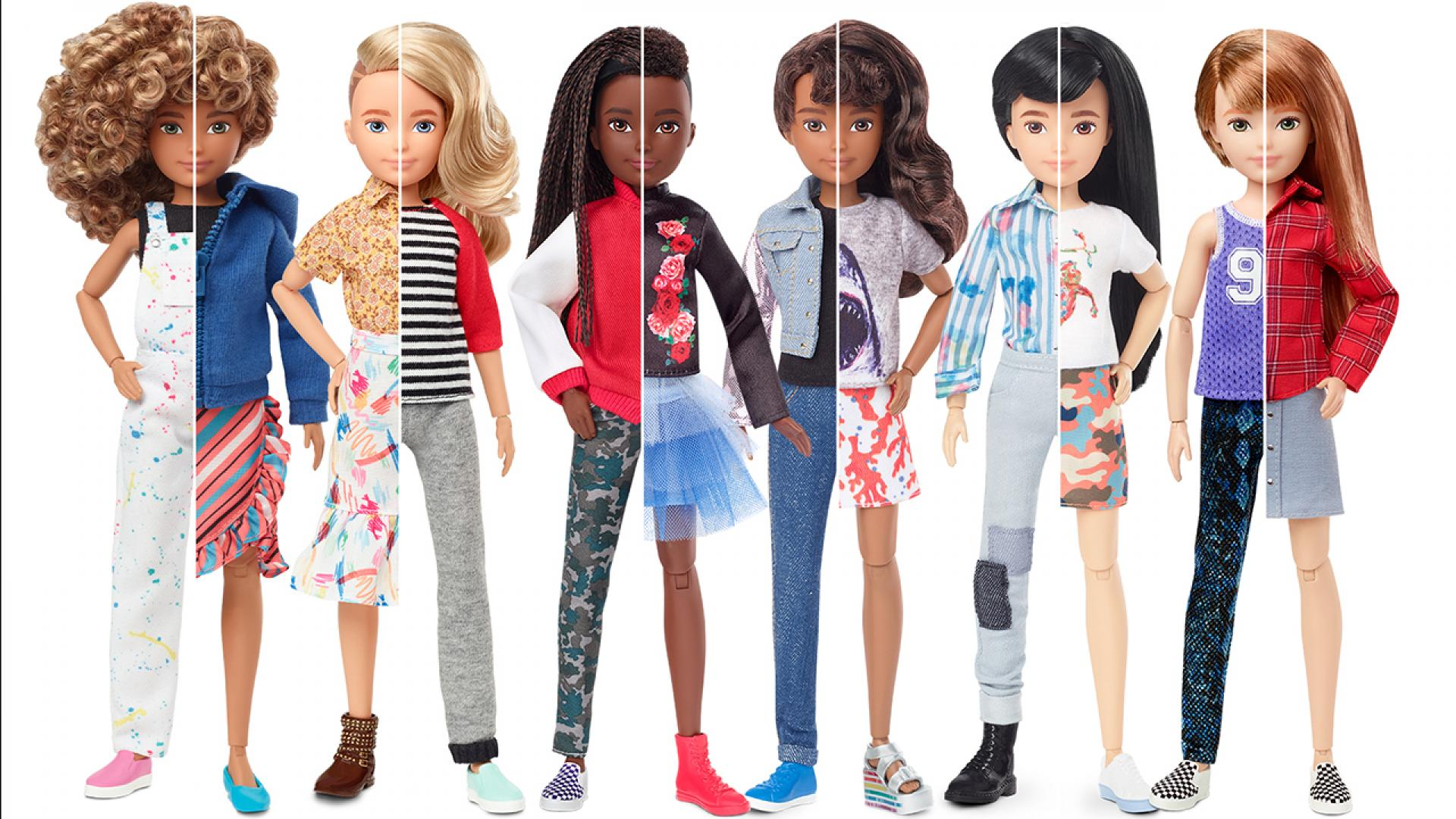 The Creatable World dolls are available in different skin tones and each come with several gender-inclusive accessories.