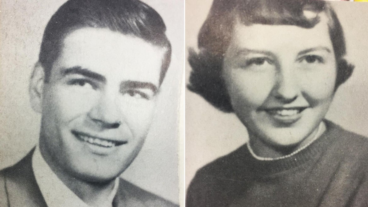 Bob Harvey (left) and Annette Adkins (right) met when they were both juniors in high school.