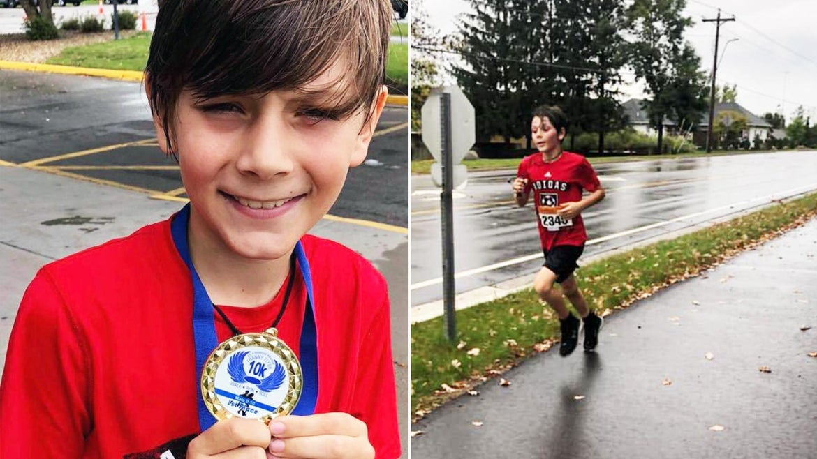 Kade Lovell, 9, ended up coming in first place in his very first 10K race.
