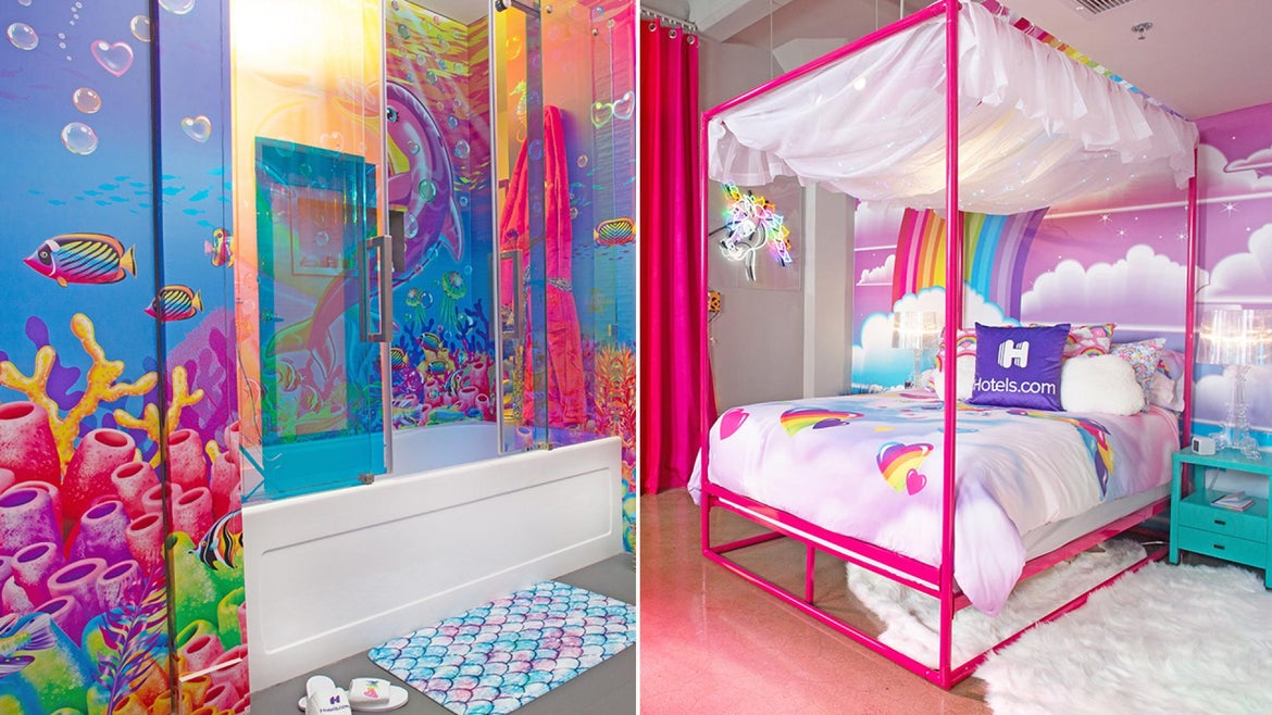 The Lisa Frank flat features colorful wallpaper and decor.