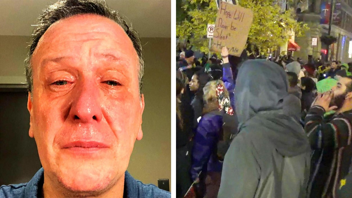 An Inside Edition producer was pepper-sprayed while covering an anti-Trump protest.