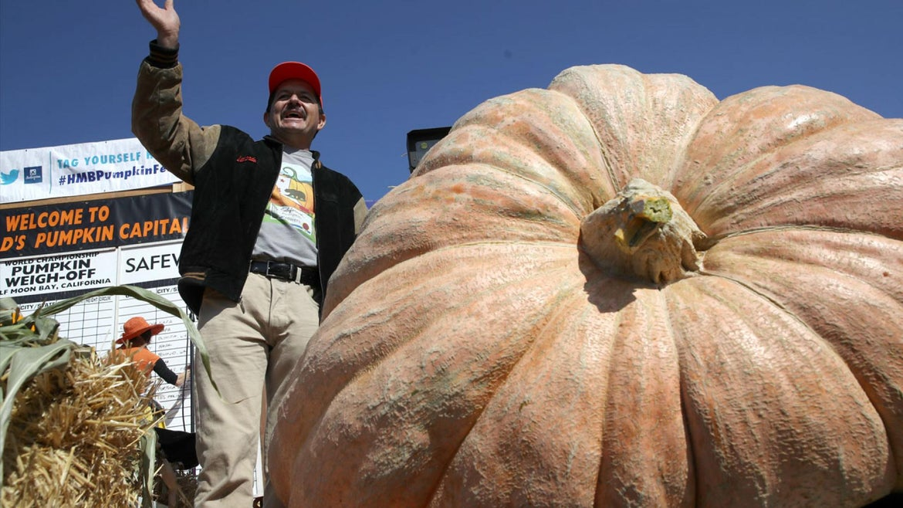 Farmer Breaks California Record After Growing 2-Ton Pumpkin
