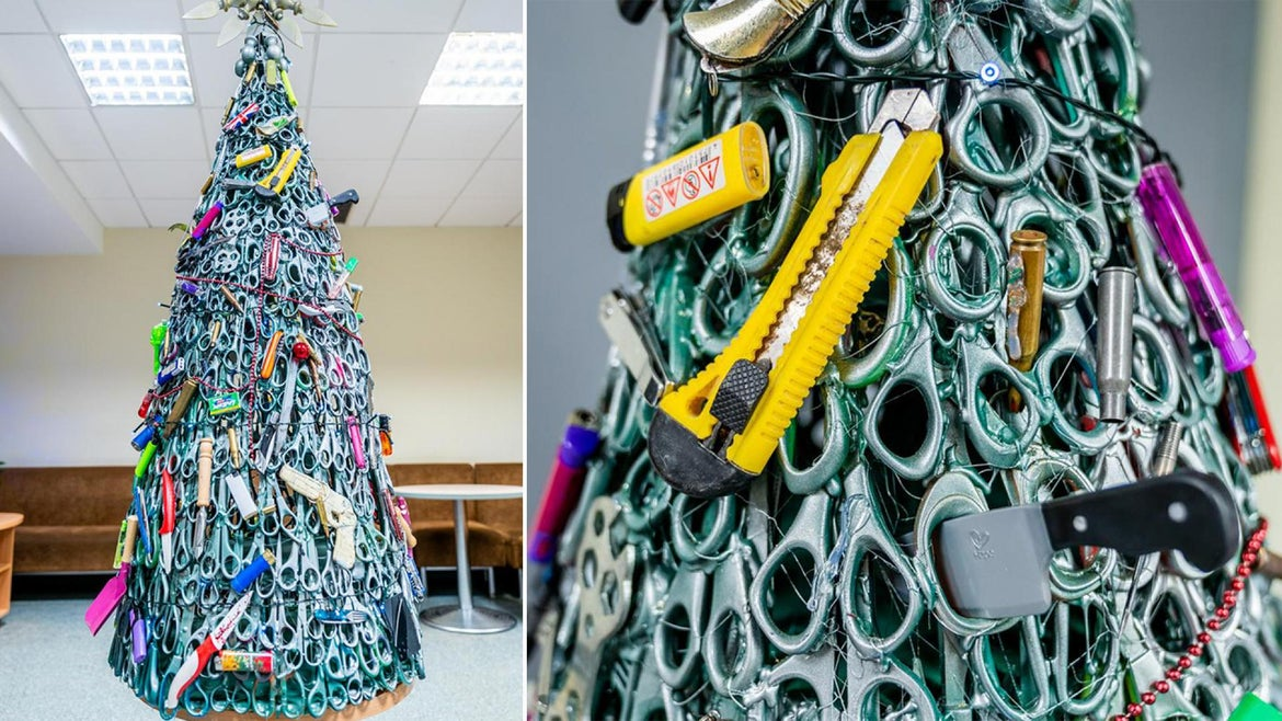 Vilnius Airport in Lithuania created a Christmas tree made of everything they have confiscated from passengers to remind travelers to check their baggage when they fly.