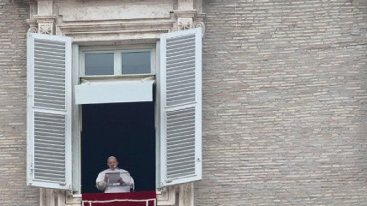 The pope giving his traditional Sunday message.