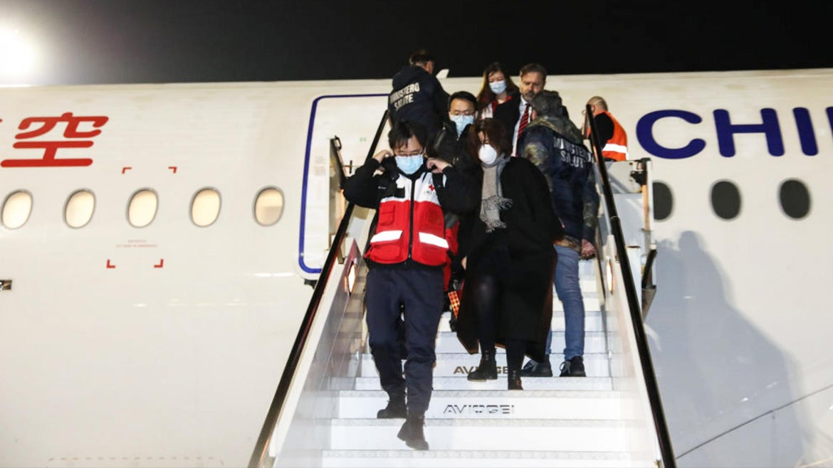 A Chinese medical team from Shanghai arrives in Rome to help contain the spread of coronavirus in Italy.