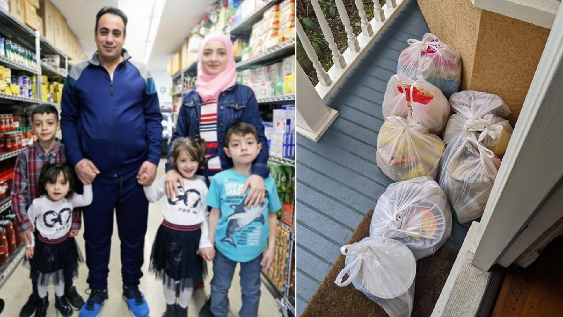 A family of refugees that resettled in Canada five years ago surprised the family that supported their move with fresh groceries after they were asked to self-quarantine.