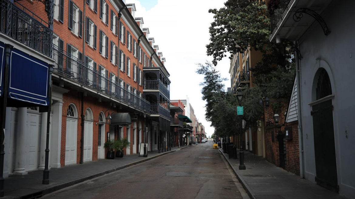 The French Quarter in New Orleans is deserted.