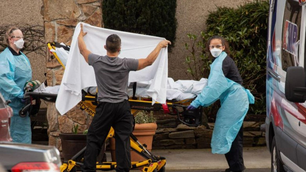 Patient being removed from Life Care Center in Washington.