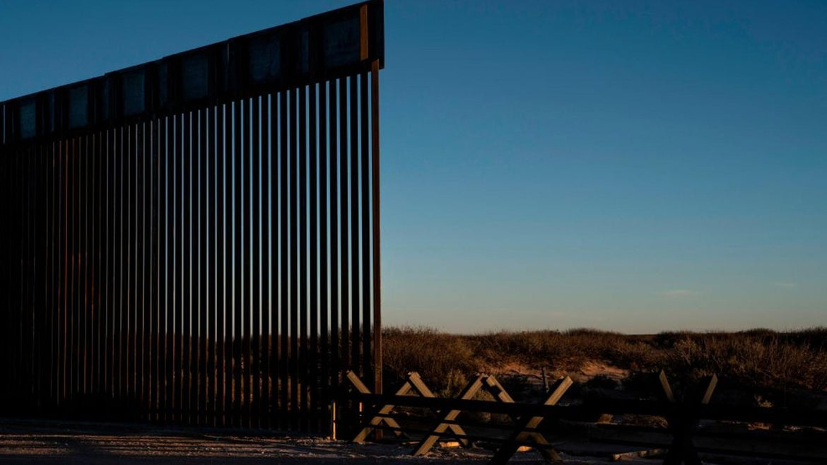 Sections of border wall are pictured under construction on February 13, 2020 in Dona Ana County, New Mexico.