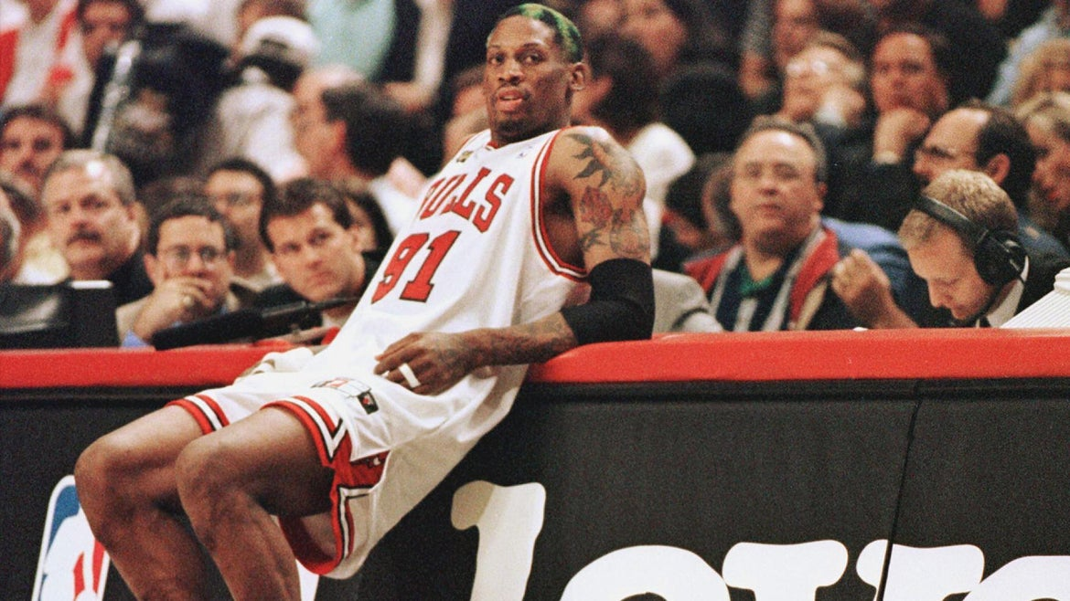 Dennis Rodman playing for the Chicago Bulls.