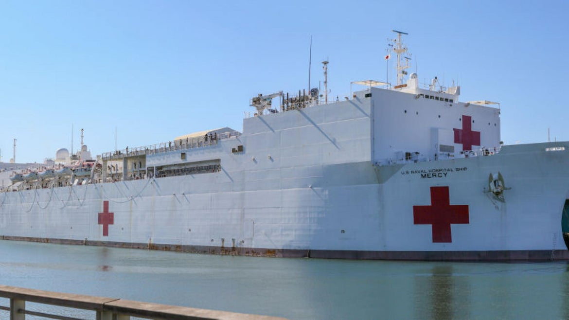 The USNS Mercy arrived in Los Angeles on March 27.